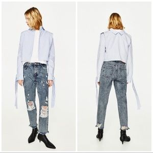 Zara High Rise Ripped Mom Fit Jeans Size 4